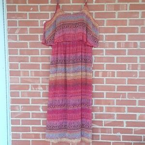 Pink Combo Strap over shoulder maxi dress,  sz XL